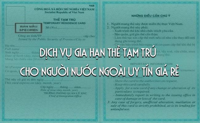 Gia hạn thẻ tạm trú tại Thái Dương Tourism
