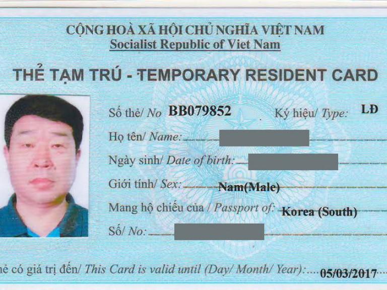 Hồ sơ xin thẻ tạm trú Việt Nam tại Thái Dương